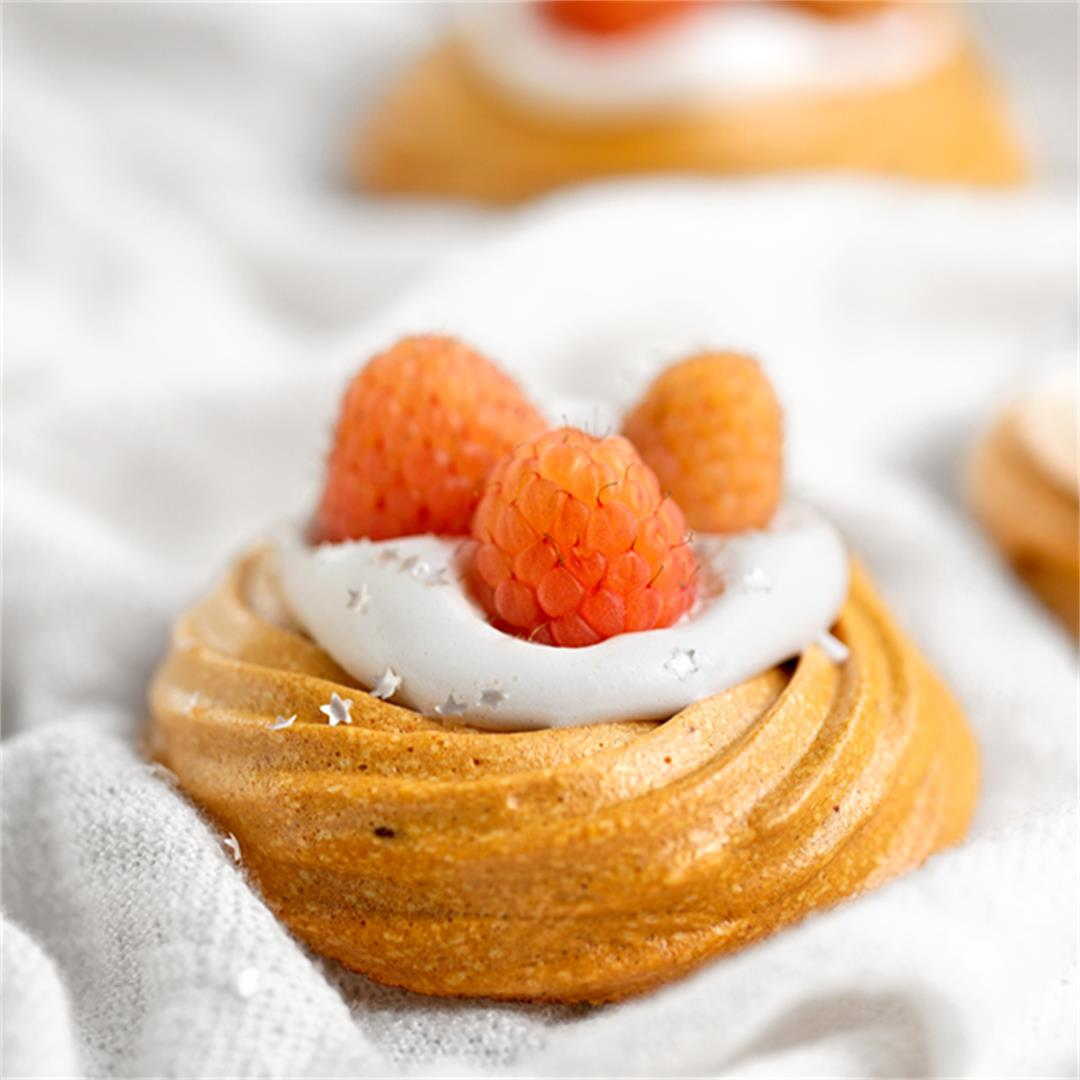 Truly angelic personal pavlovas, made without eggs or sugar!