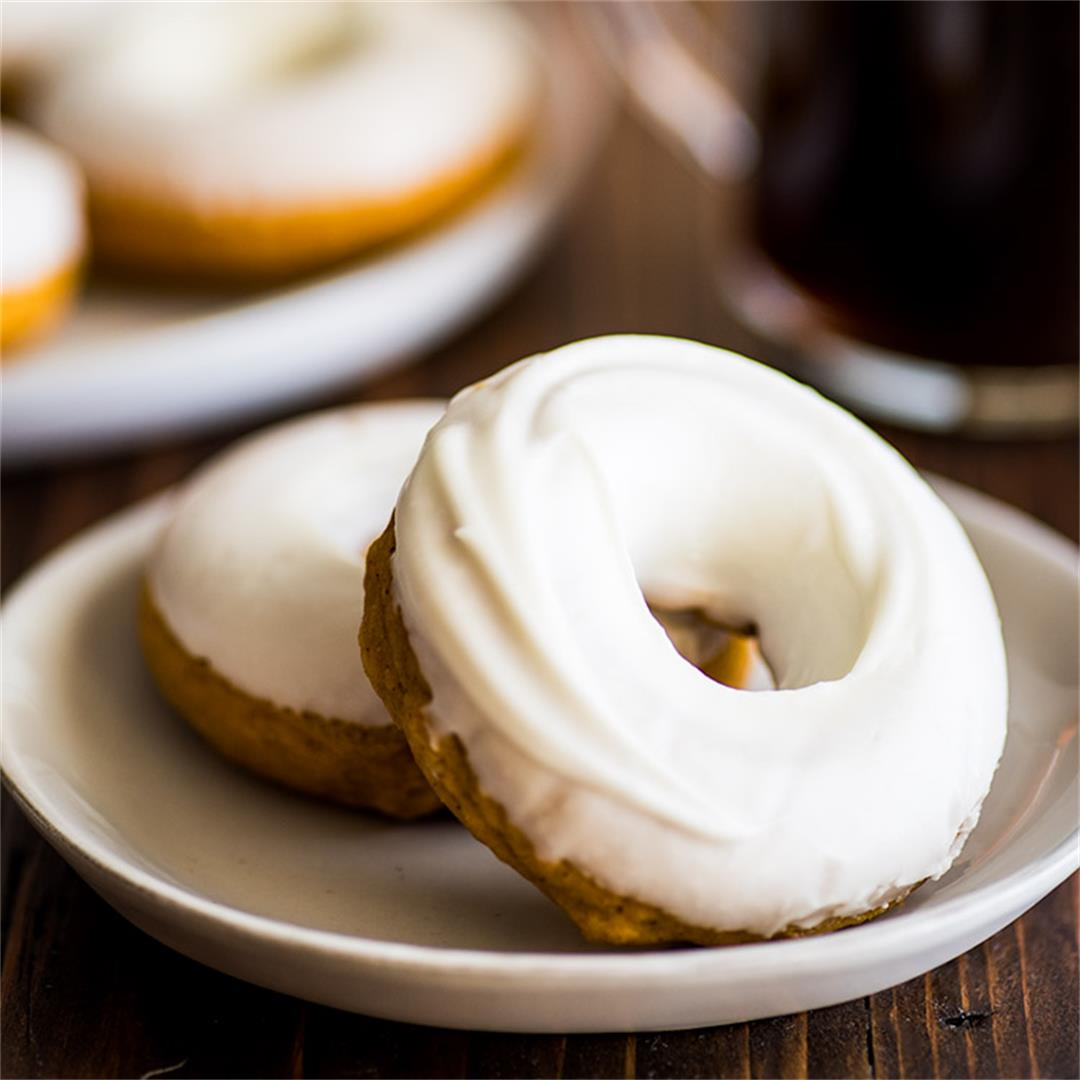 Pumpkin Donuts With Cream Cheese Glaze