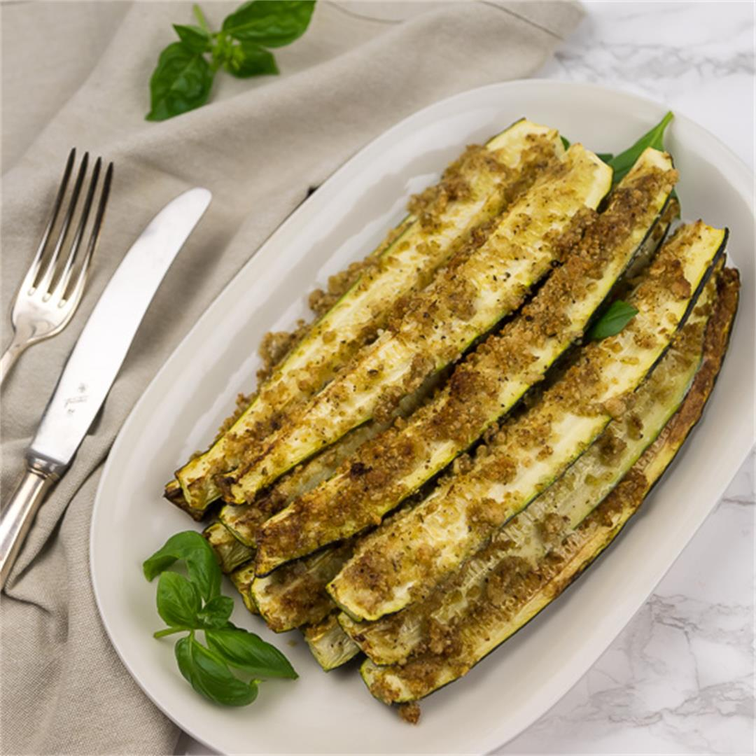 Baked Zucchini Sticks with Vegan Parmesan