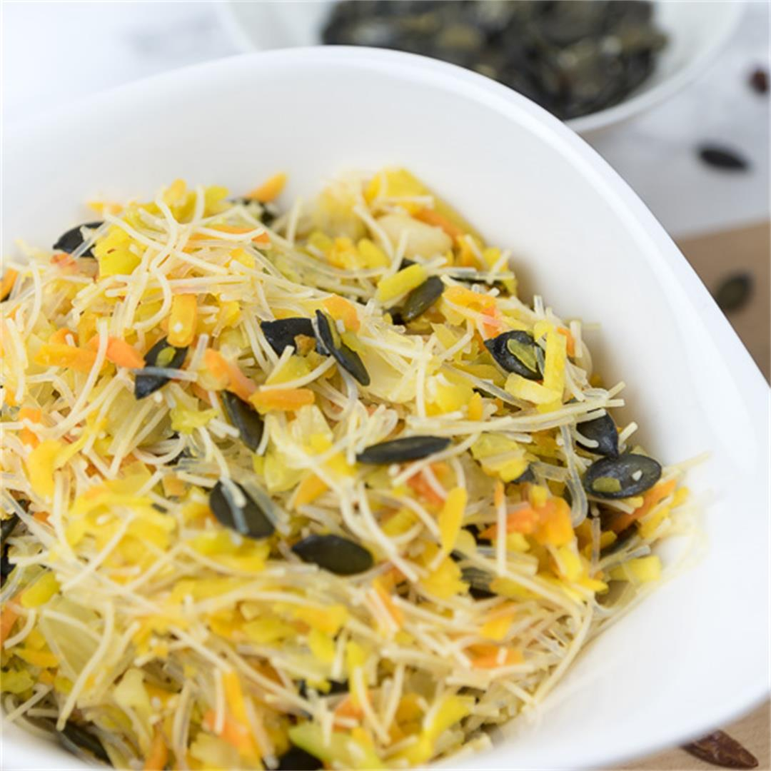 Warm Glass Noodle Salad with Carrots and Pointed Cabbage
