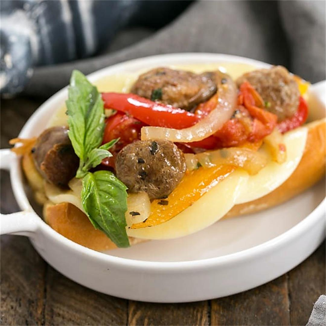 Skillet Italian Sausage and Peppers Sandwiches