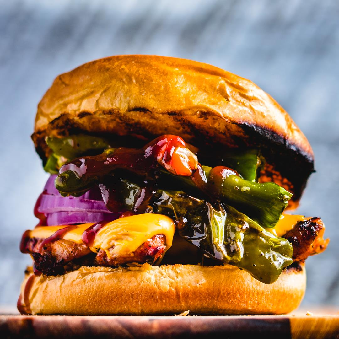 Blackened Chicken Sandwich with Blistered Shishito Peppers