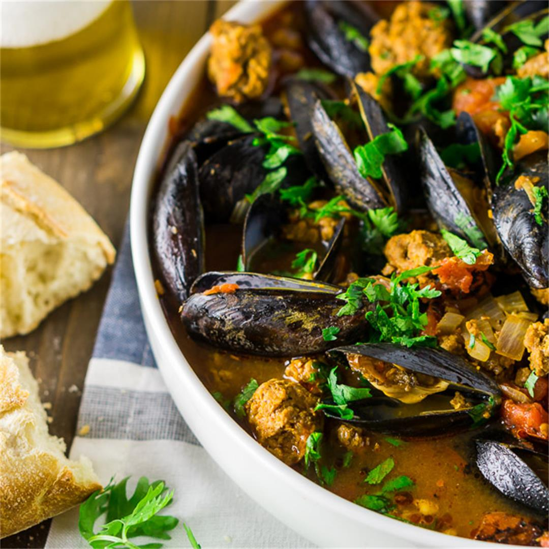 Beer-Steamed Mussels in a Spicy Chorizo-Tomato Sauce