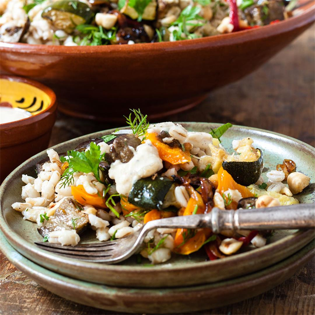 Barley and roasted Vegetable Salad with Tahini Dressing