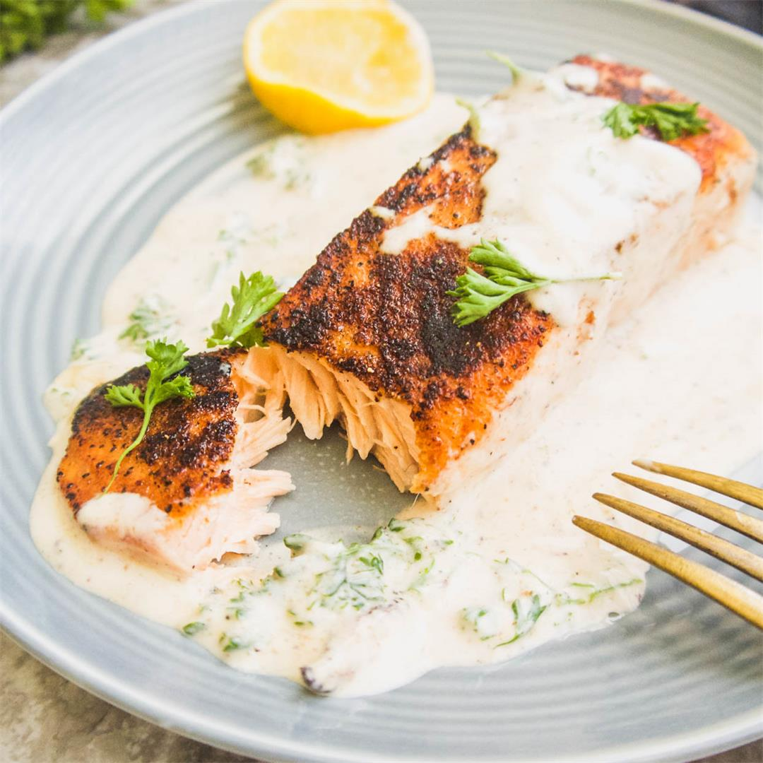 Dairy-Free Pan Seared Salmon In Cream Sauce (Paleo, Whole30)