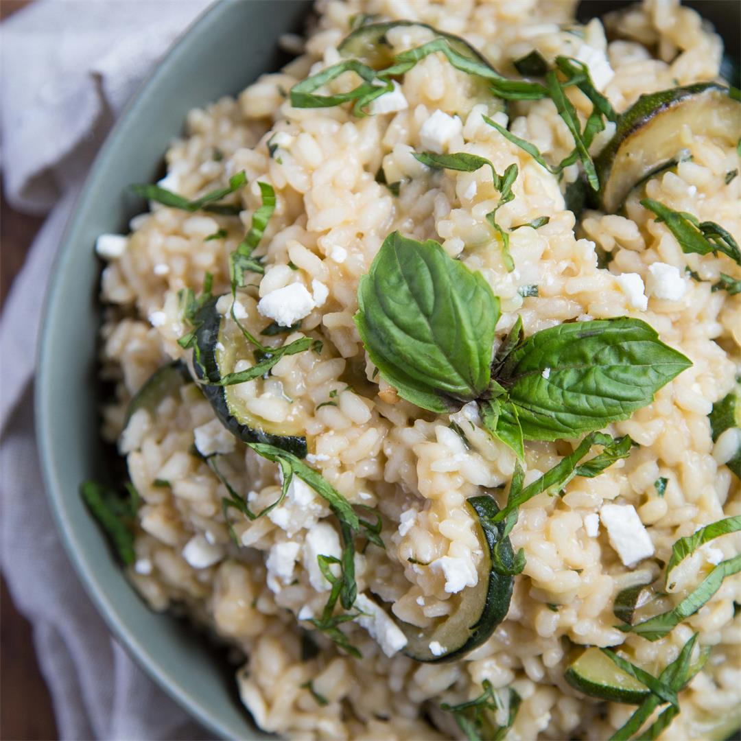 Zucchini Risotto with Basil, Mint, and Feta
