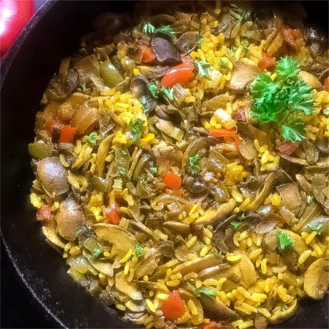 Cajun Trinity Turmeric Rice With Mushrooms