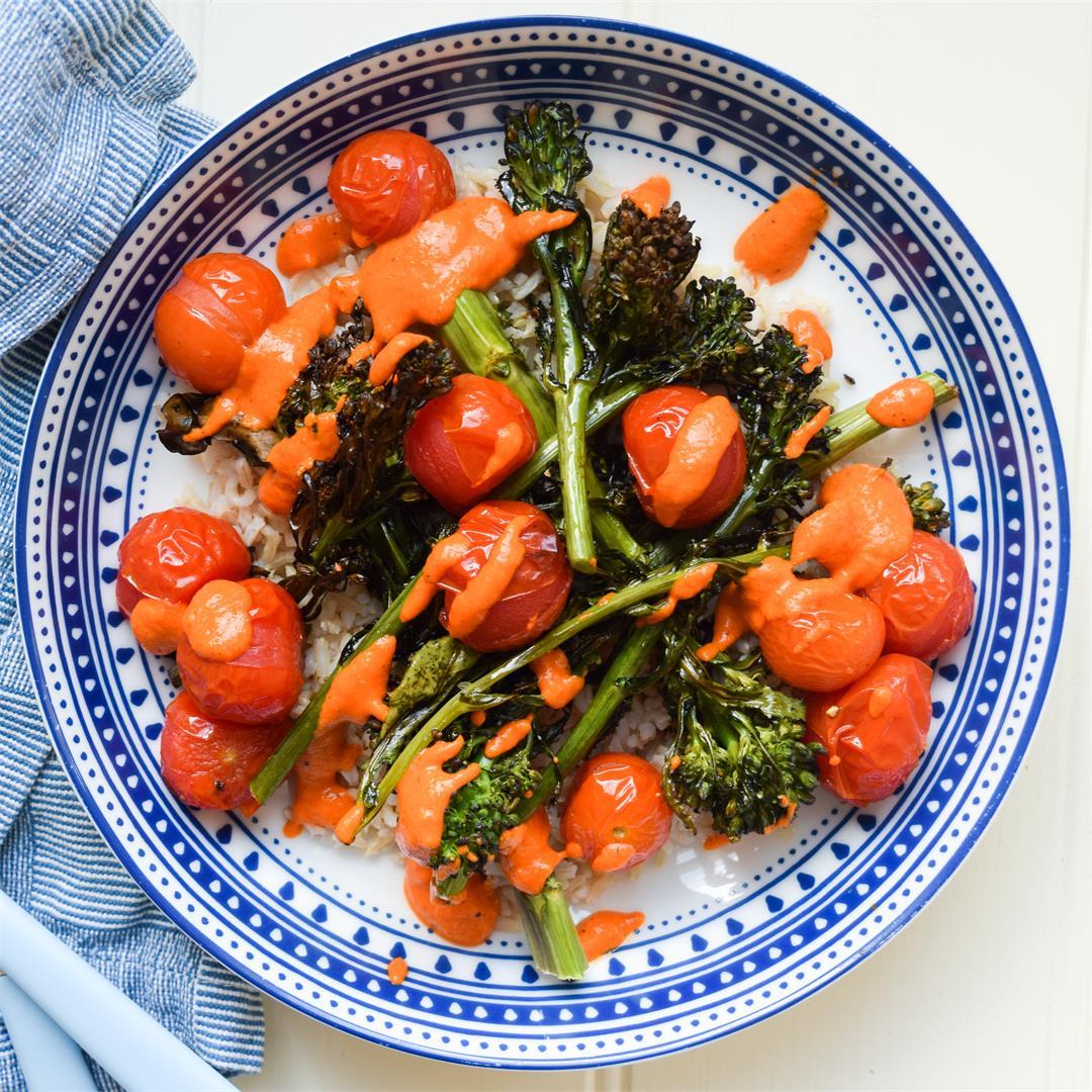 Charred Tenderstem & Cherry Tomato Rice Bowl with Romesco Sauce
