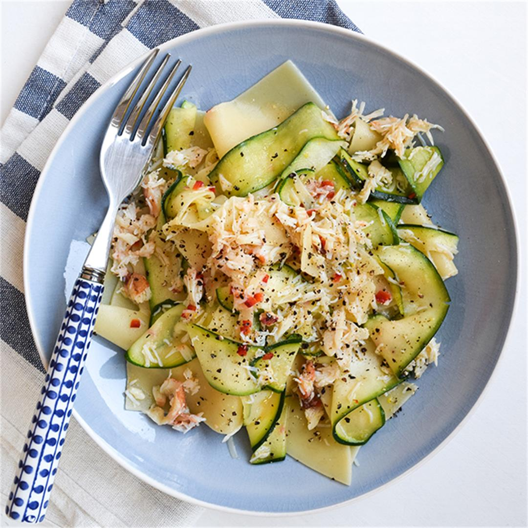 15-Minute Broken Pasta with Lemony Crab & Courgette