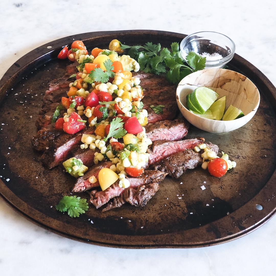 Chile Lime Spice Rubbed Steak with Corn Salsa