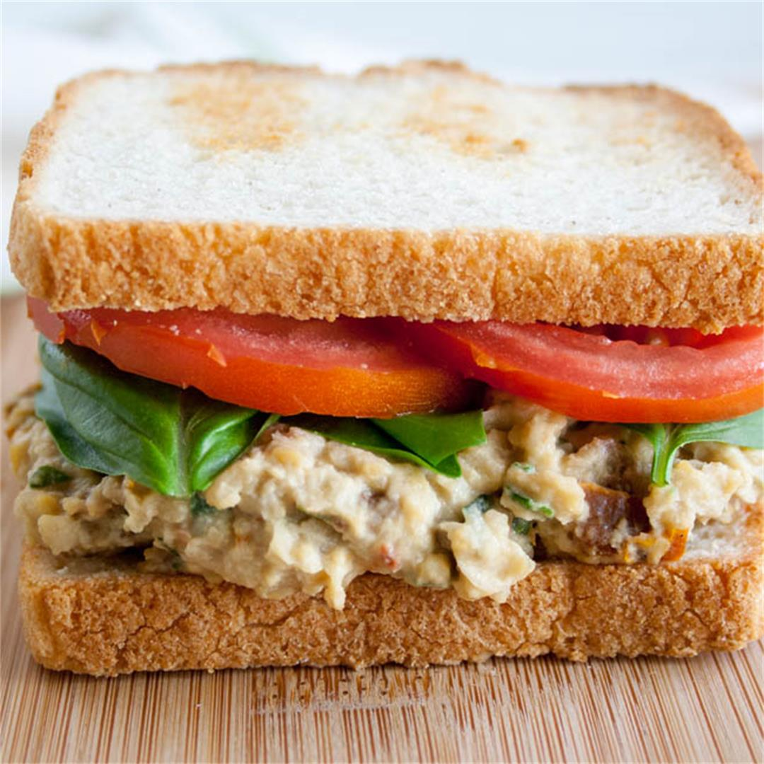Sun-Dried Tomato and Basil Chickpea Salad Sandwich