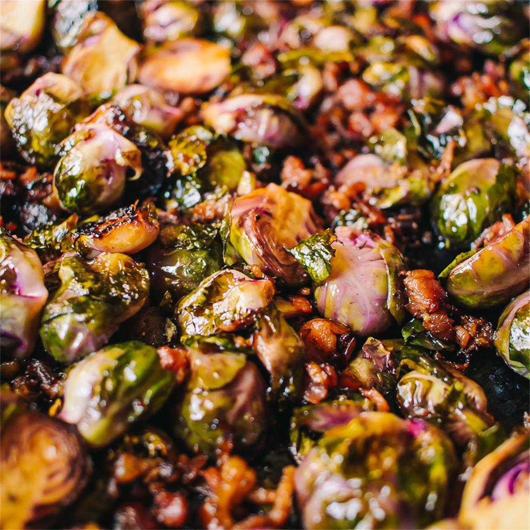 Roasted Brussel Sprouts with bacon and balsamic vinegar