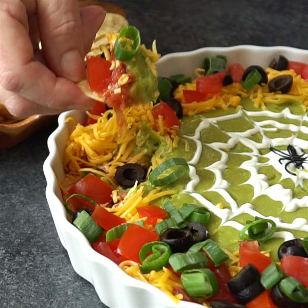 Spooky 8-Layer Taco Dip