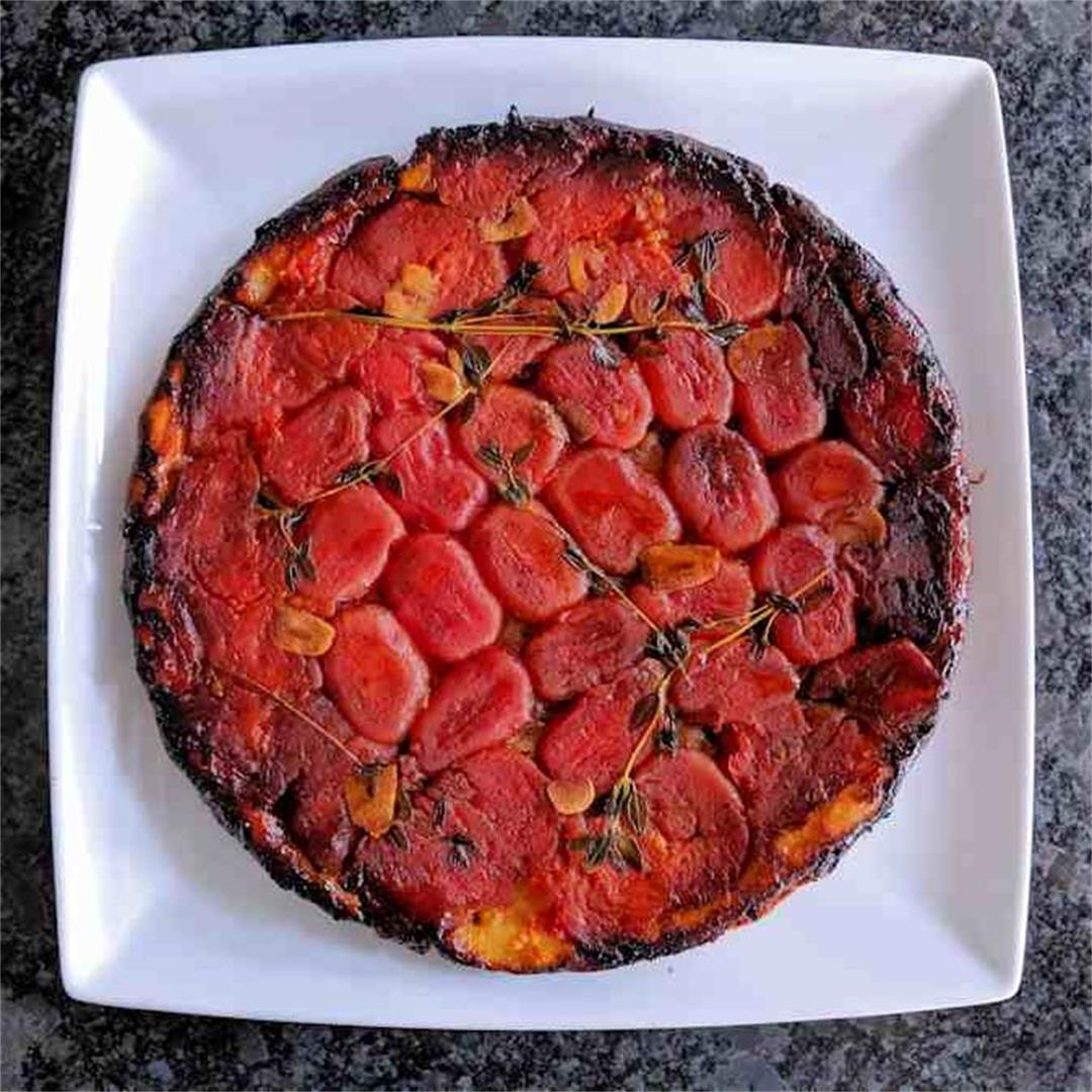 Tarte Tatin with plum tomatoes