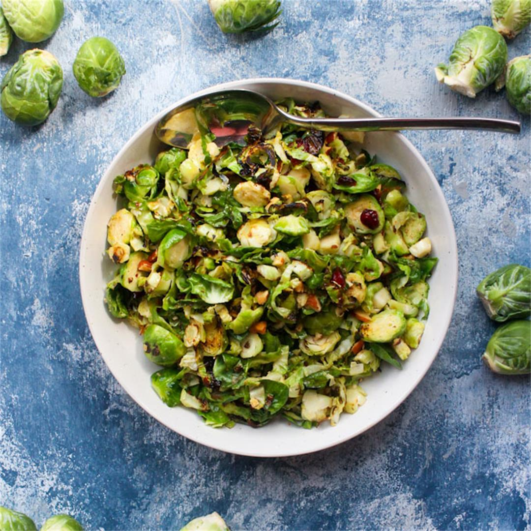 Shaved Brussels Sprouts Salad with Maple Vinaigrette: Vegan, GF