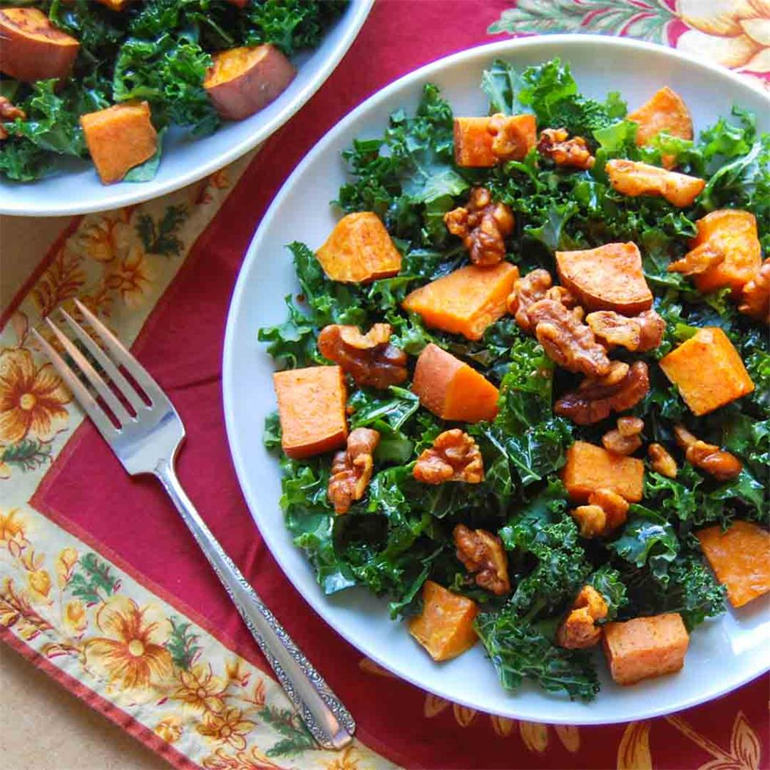 Sweet Potato and Kale Salad with Walnut Vinaigrette