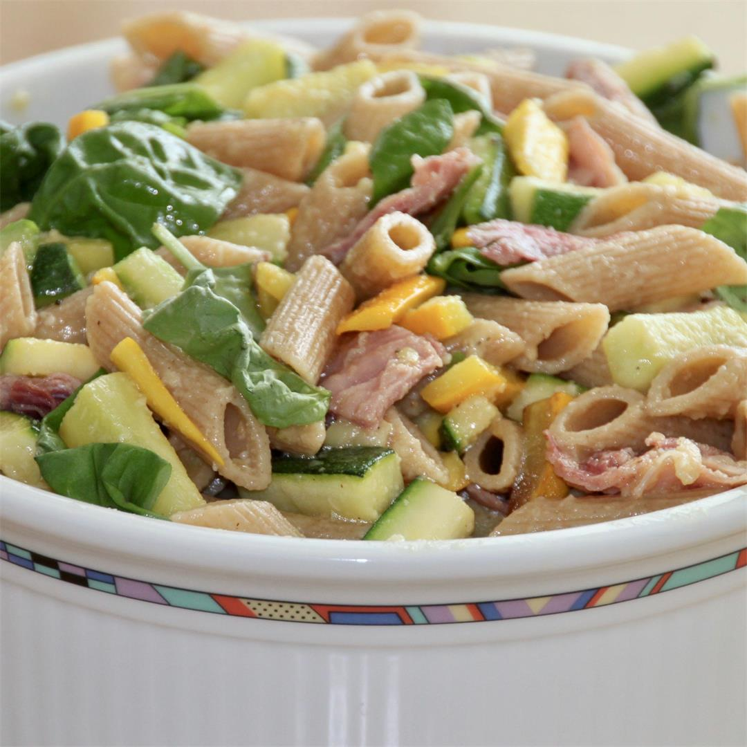 yellow-green summer pasta salad