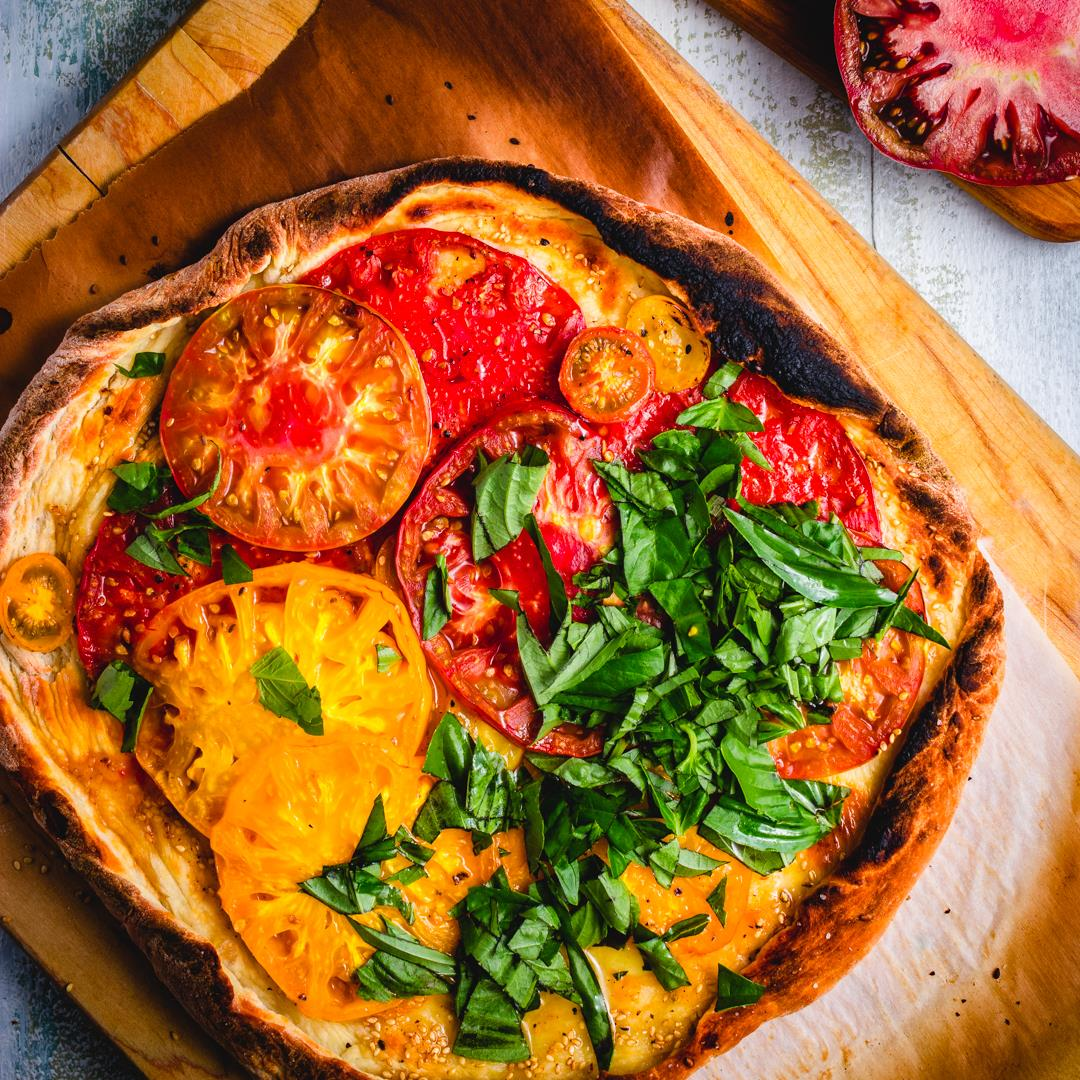 Cheeseless Heirloom Pizza