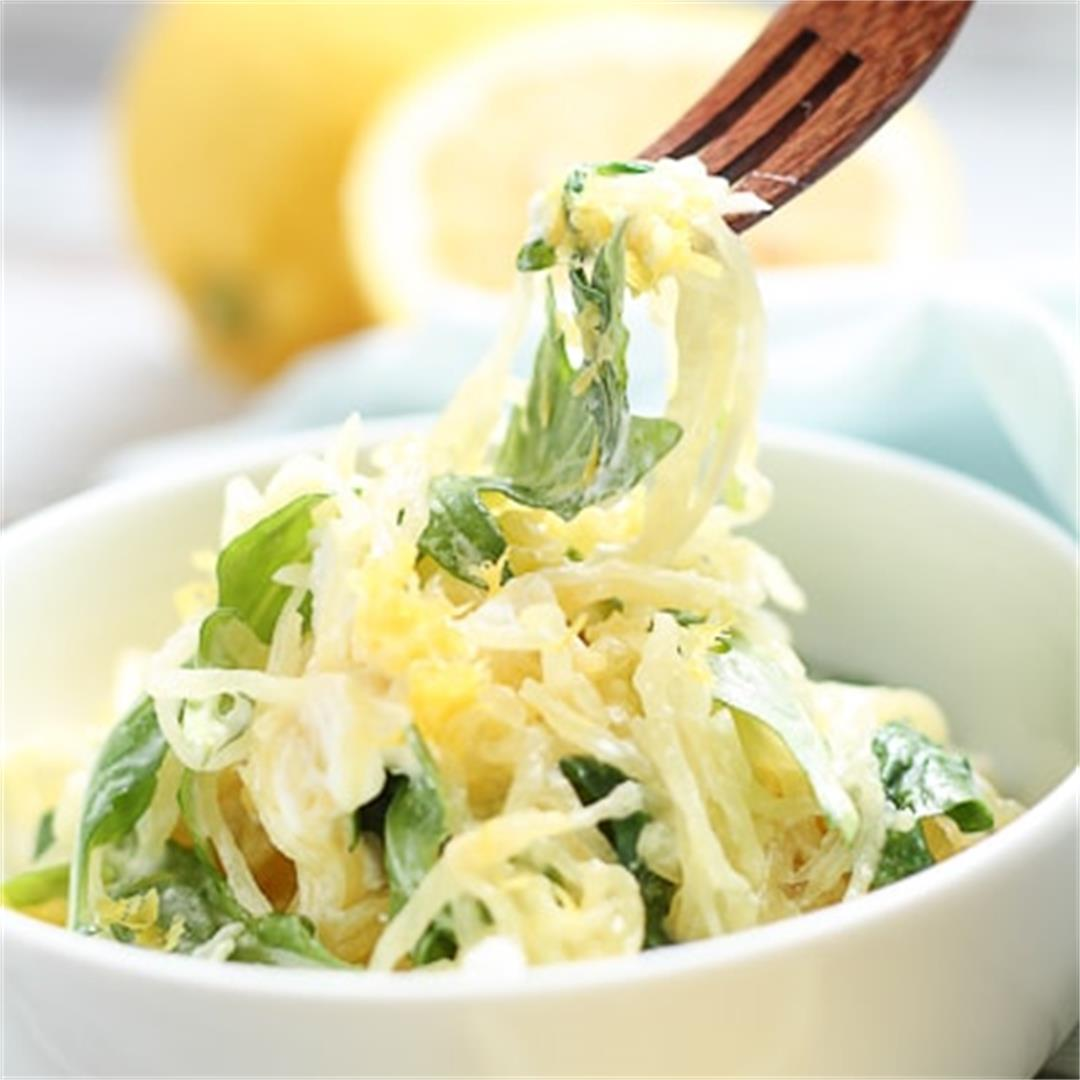Spaghetti Squash with Goat Cheese and Arugula