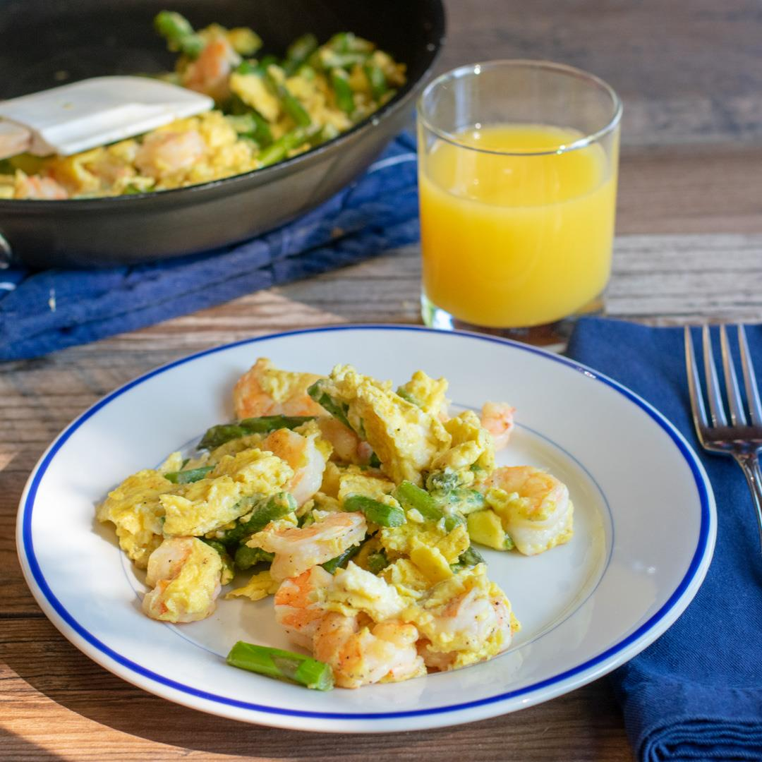 Eggs, Asparagus, and Shrimp