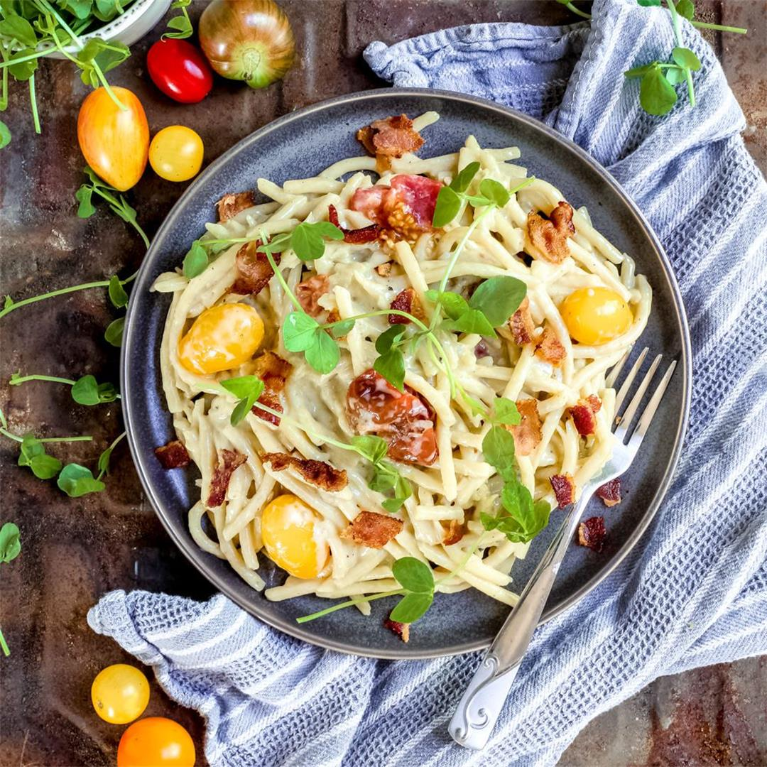 Bacon, Tomato and Blue Cheese Bucatini One Pot Pasta