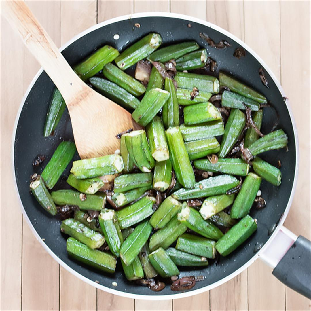 Pan Fried Okra with Garlic