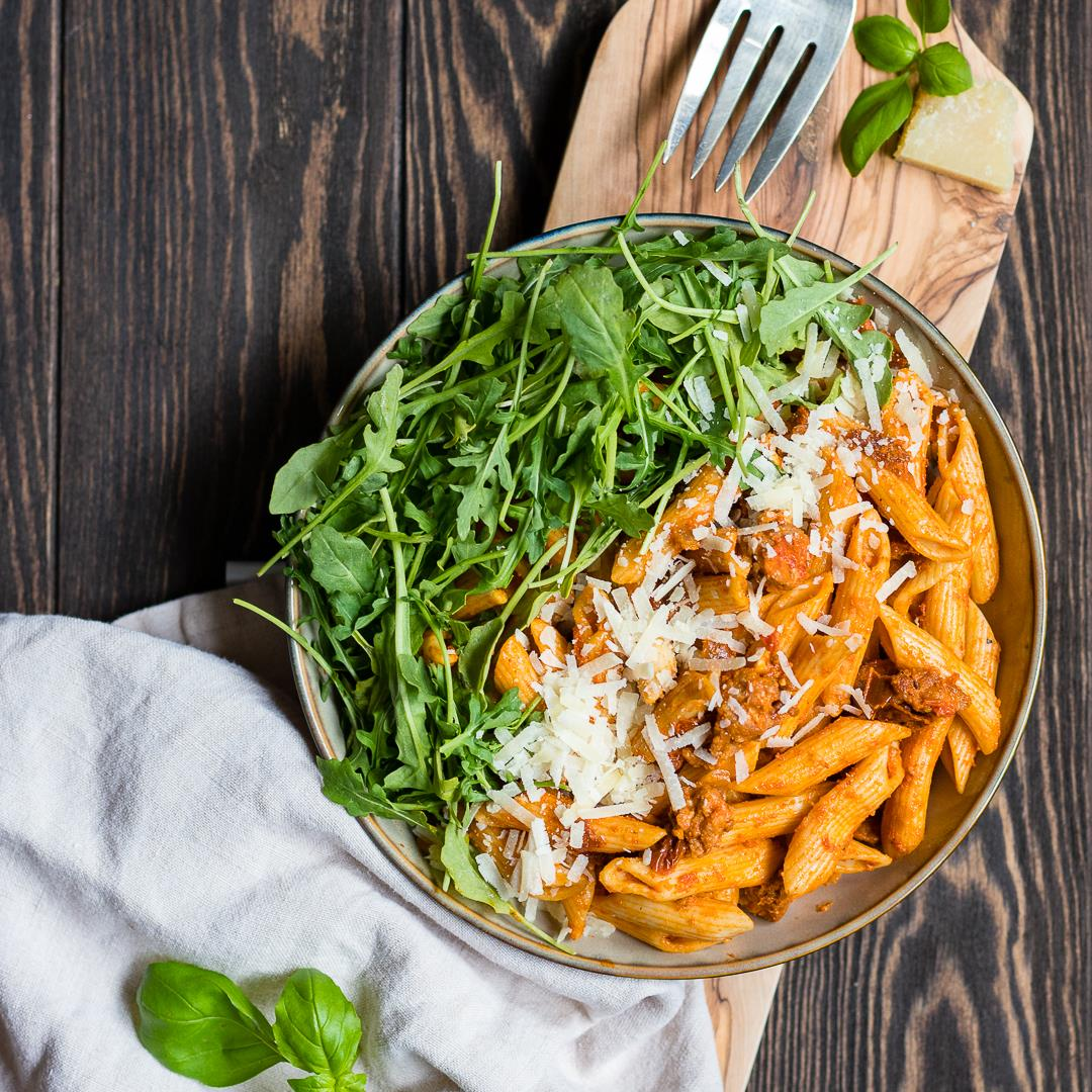 Penne Alla Vodka With Chorizo and Sun-Dried Tomatoes