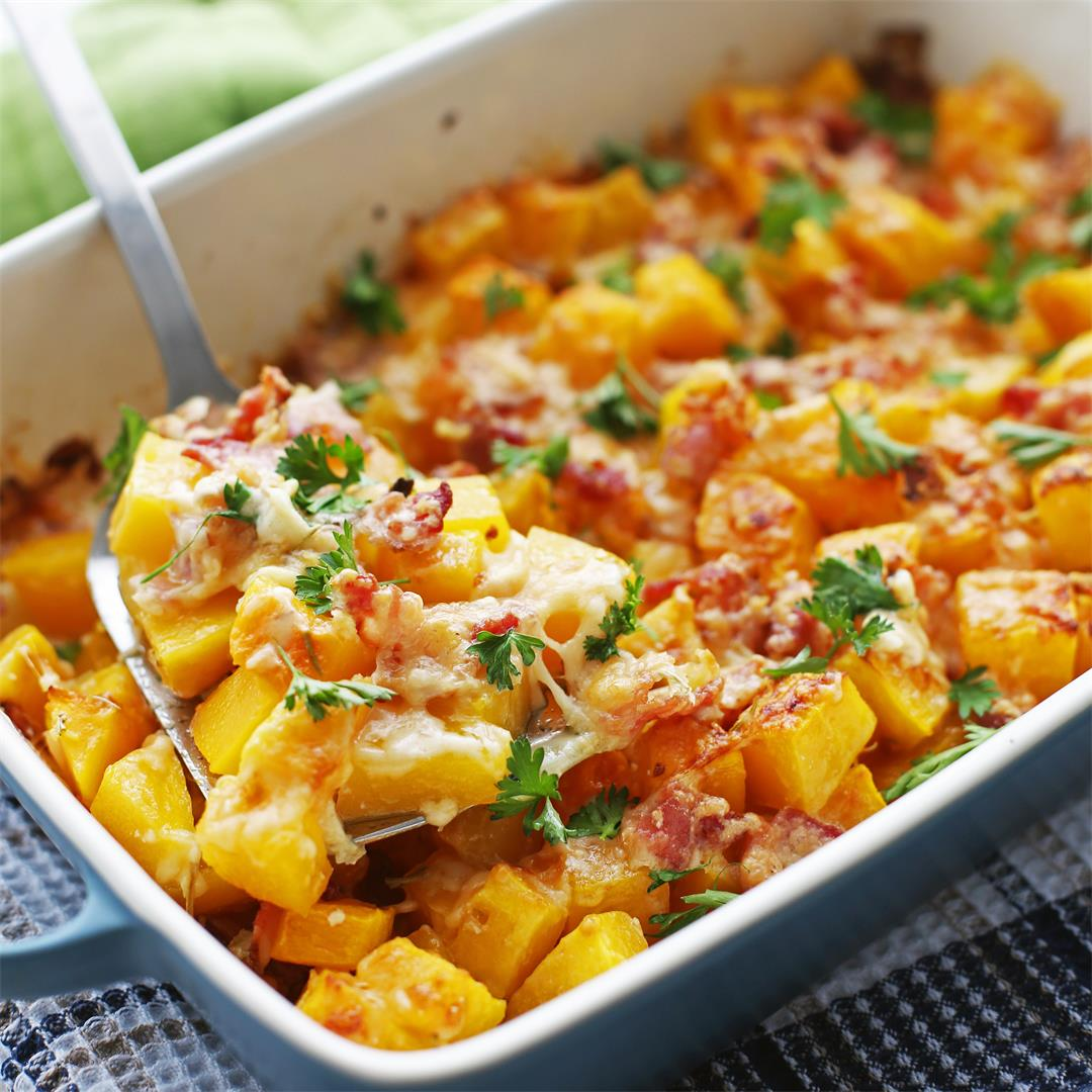 Baked Bacon Cheese Butternut Squash