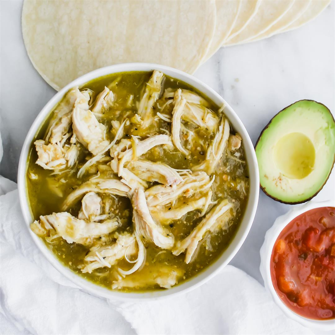 2 Ingredient Salsa Verde Chicken - so easy and delicious!