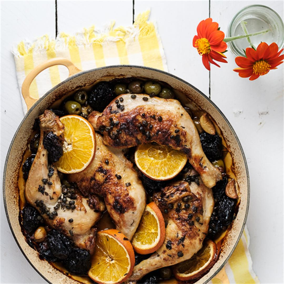 Braised Chicken with Olives, Capers and Prunes