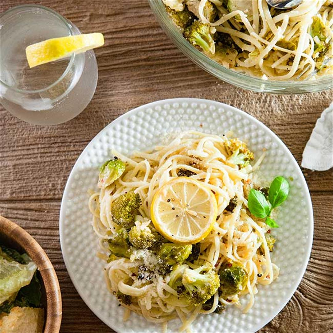 Roasted Broccoli and Brussels Pasta