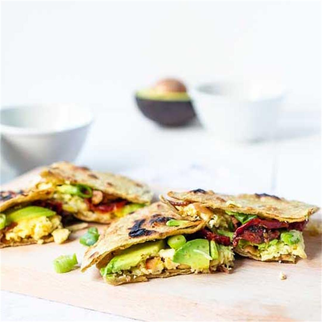 Breakfast quesadillas with bacon and egg