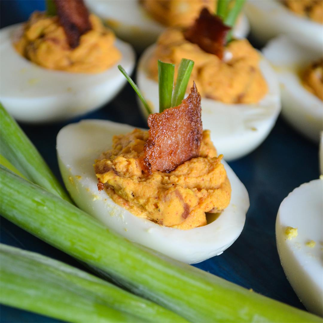 Smoky Bacon Deviled Eggs - Whole30, Paleo, Low-Carb