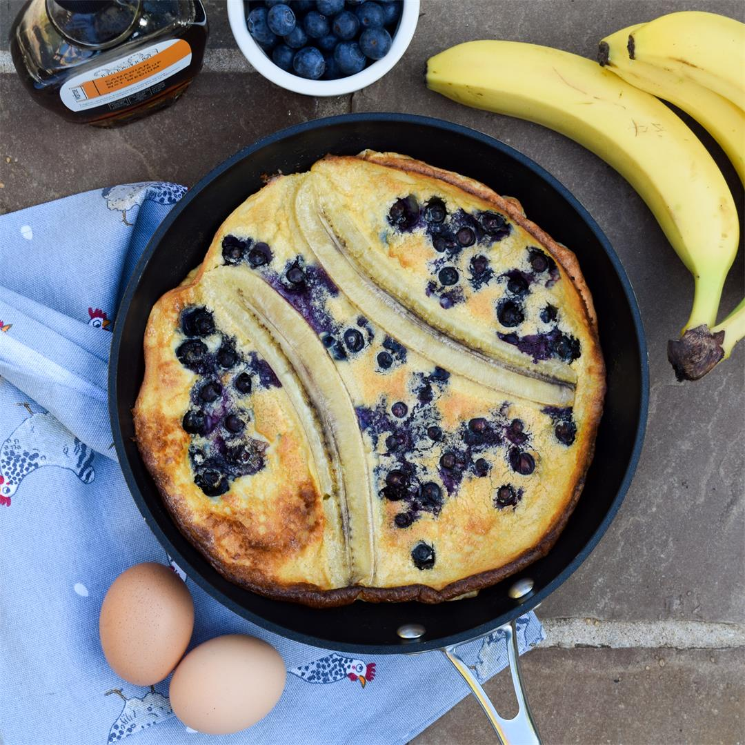 Banana & Blueberry Dutch Baby Pancake with Maple Syrup