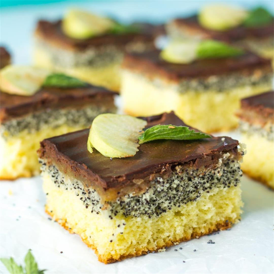 Upside Down Apple Poppy Seed Cake Bars