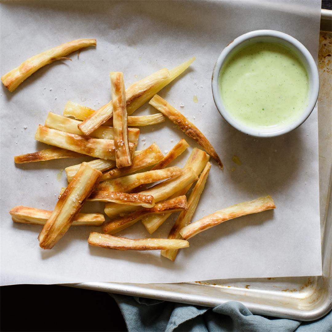Baked Yuca Fries with a Creamy Cilantro Sauce