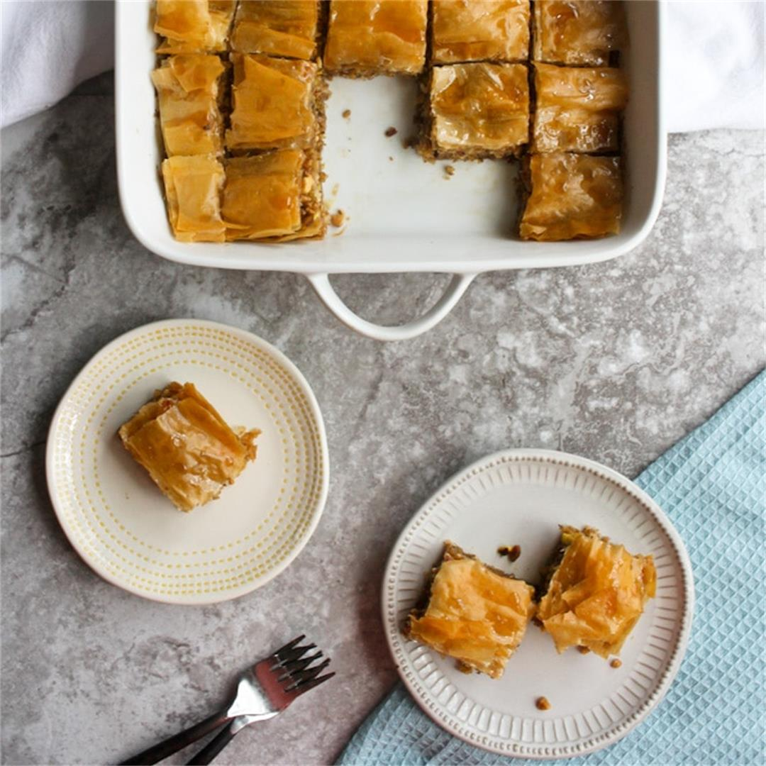 Vegan Baklava: Made with Phyllo, Nuts, OLIVE OIL + Agave Syrup