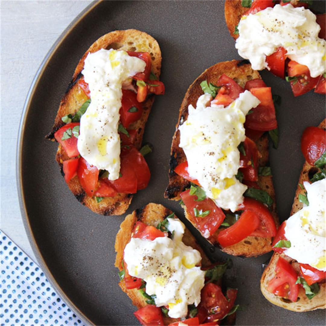 Tomato and Burrata Bruschetta