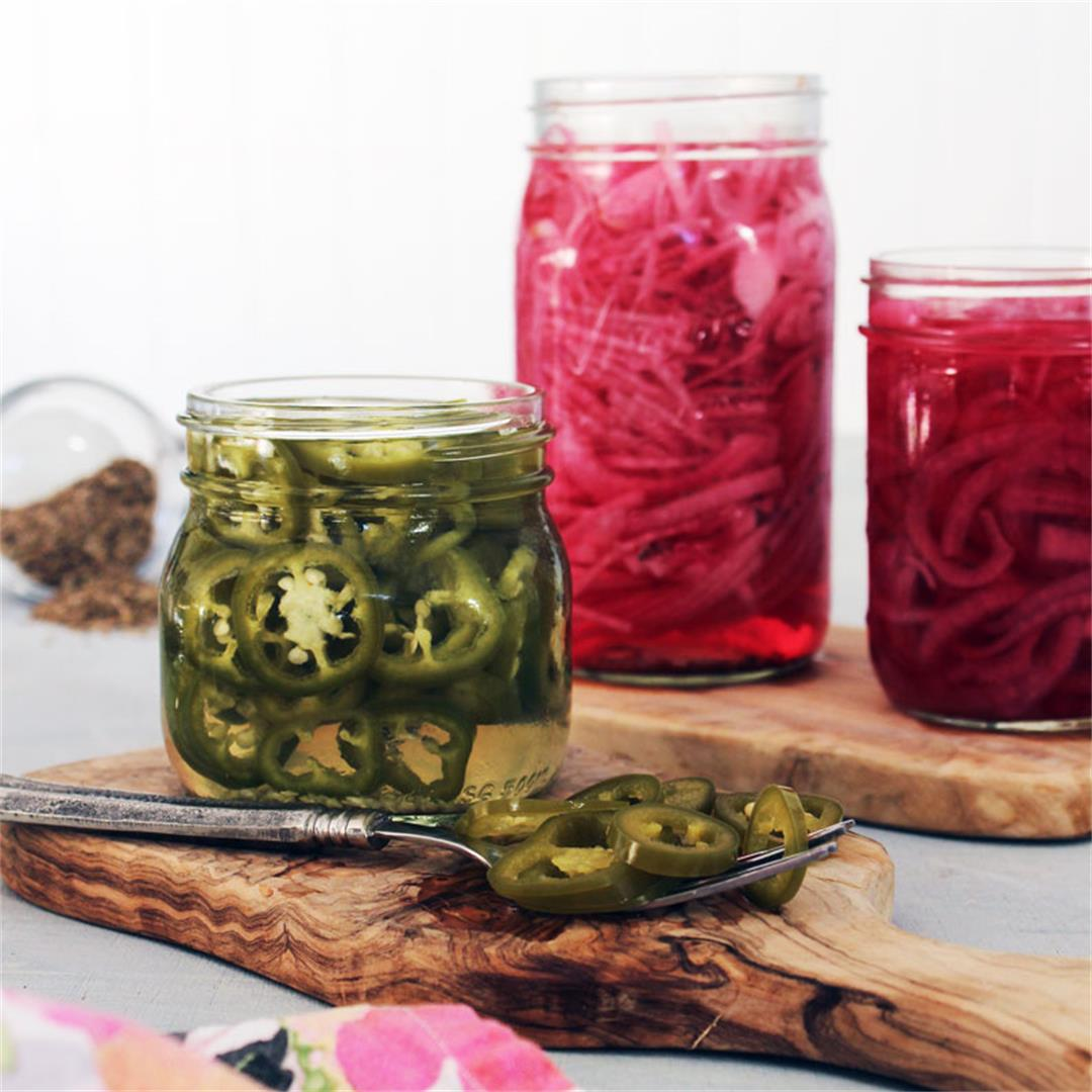 Quick Pickled Red Onions and Jalapenos