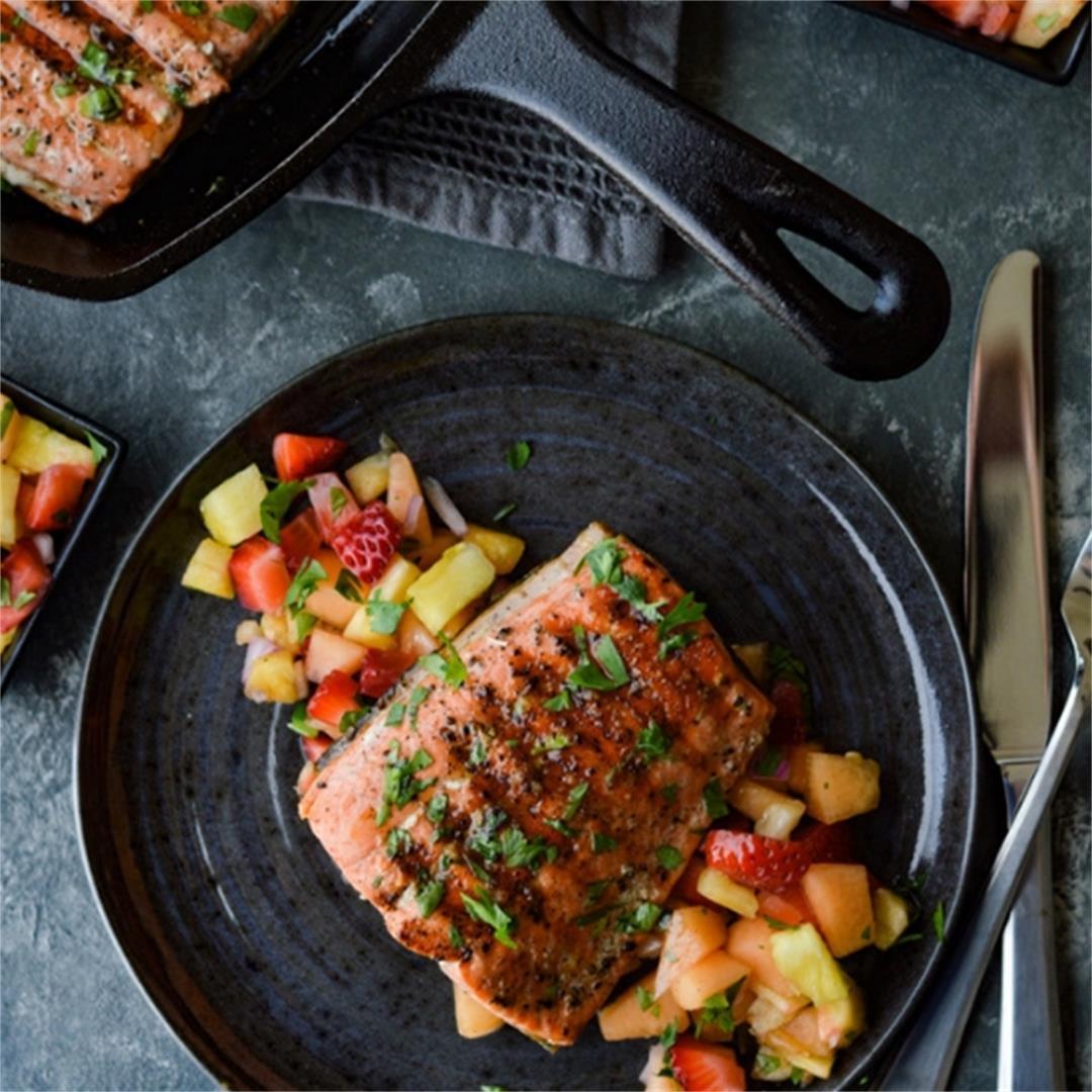 Pan Seared Sockeye Salmon with Fruit Salsa