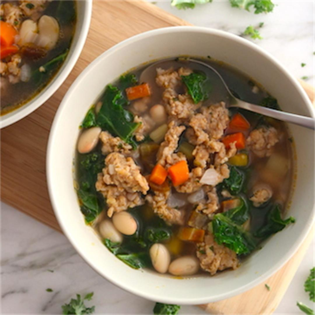 Chicken Sausage Soup with White Beans, and Kale