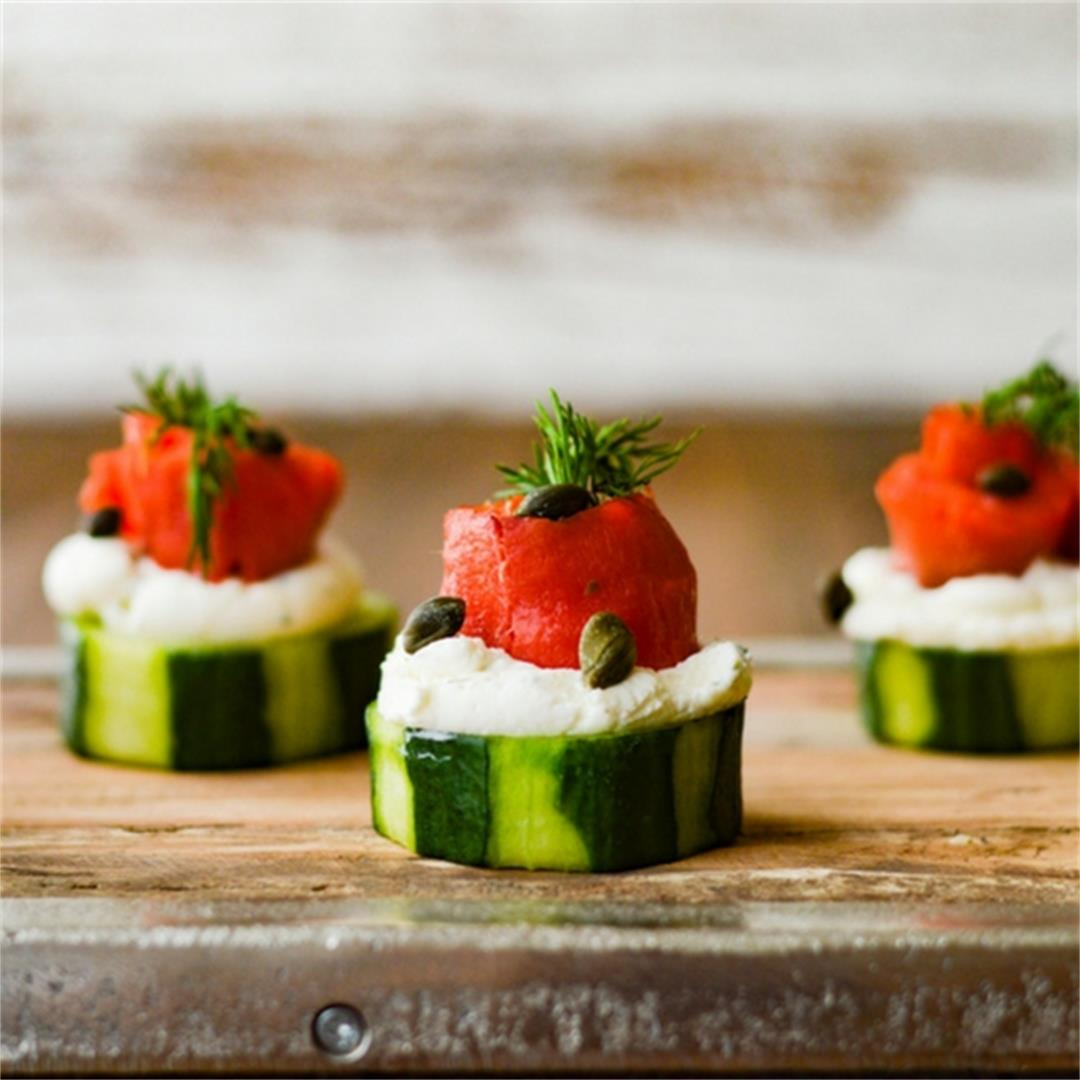 Smoked Salmon and Cream Cheese Timbales with Cucumbers