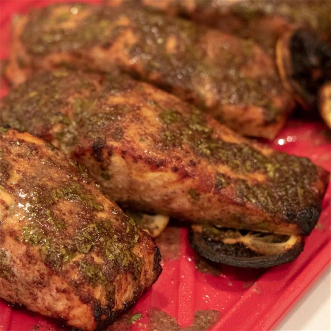 Cilantro-Creole Mustard Marinated Salmon