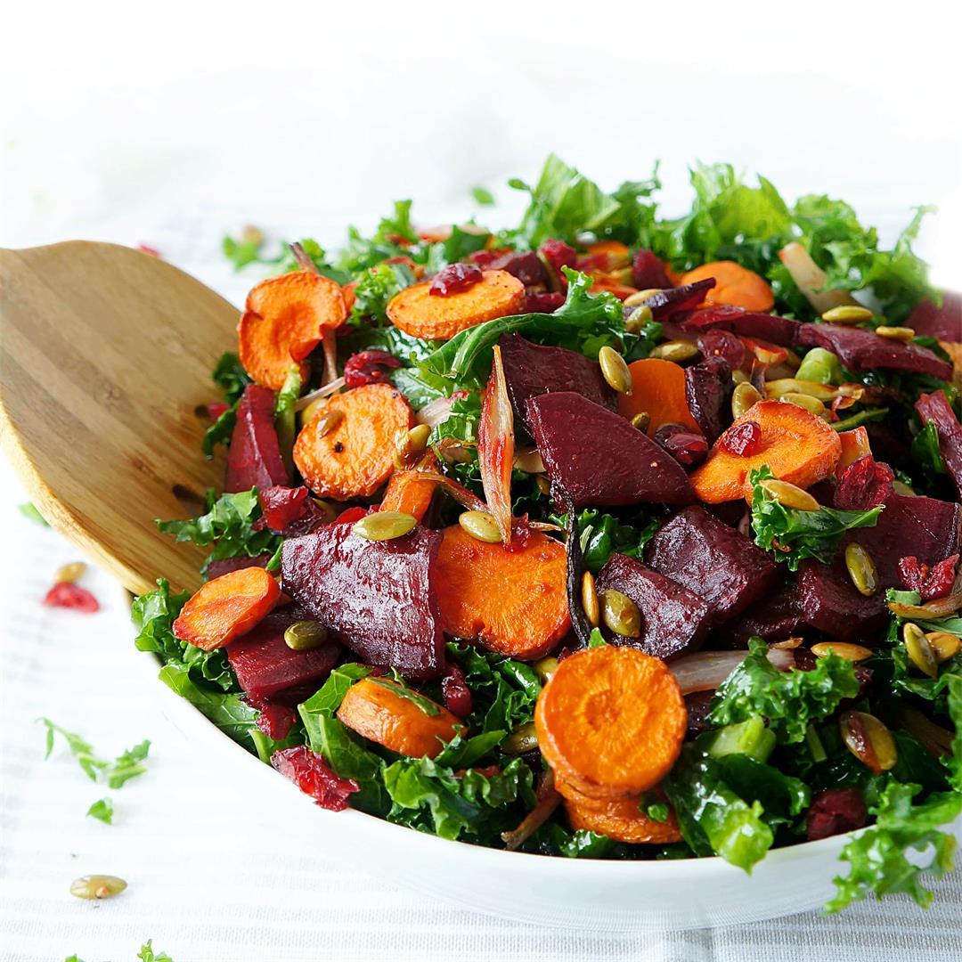 Roasted Beet & Carrot Kale Salad