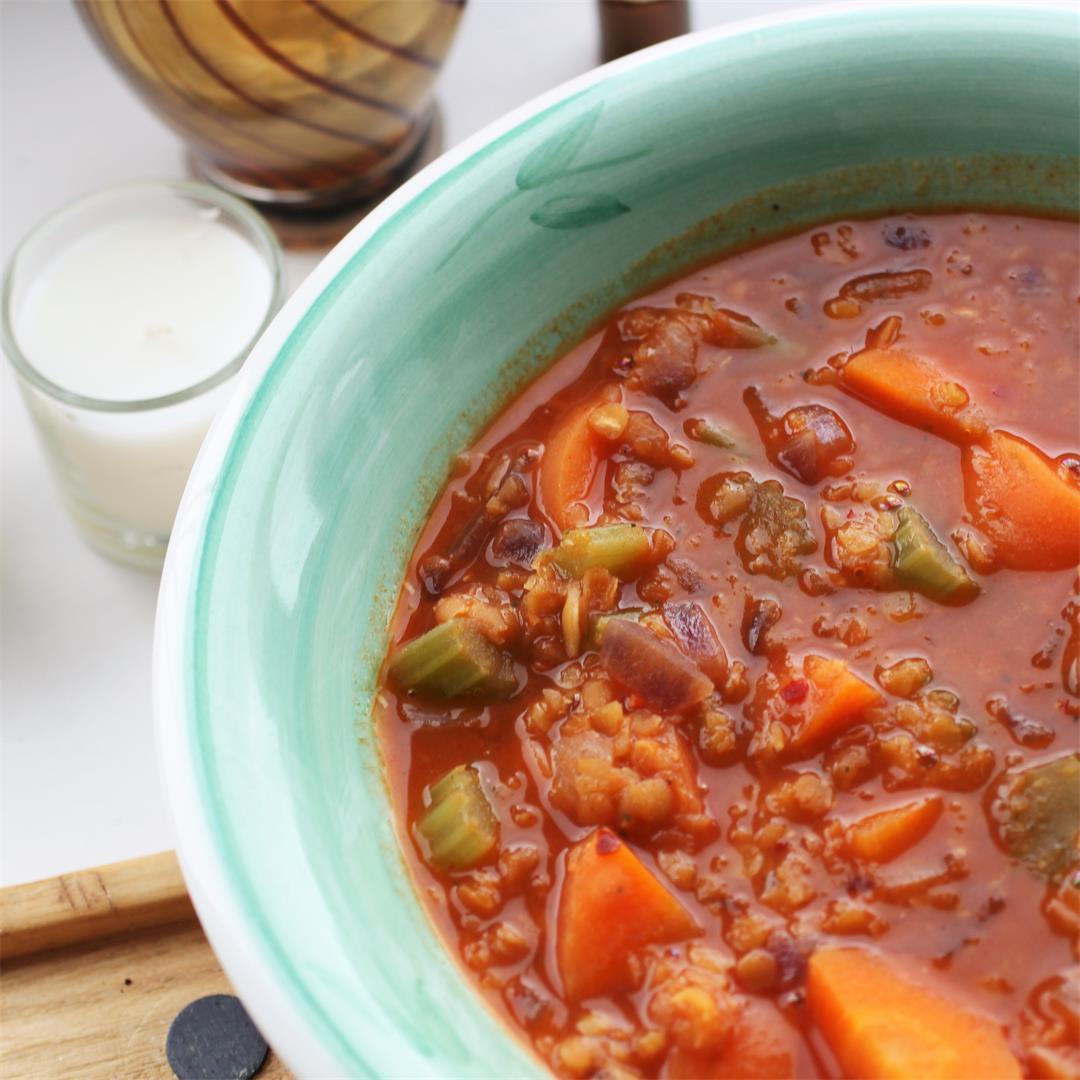 Lentil Vegetable Soup (Vegan, GF)