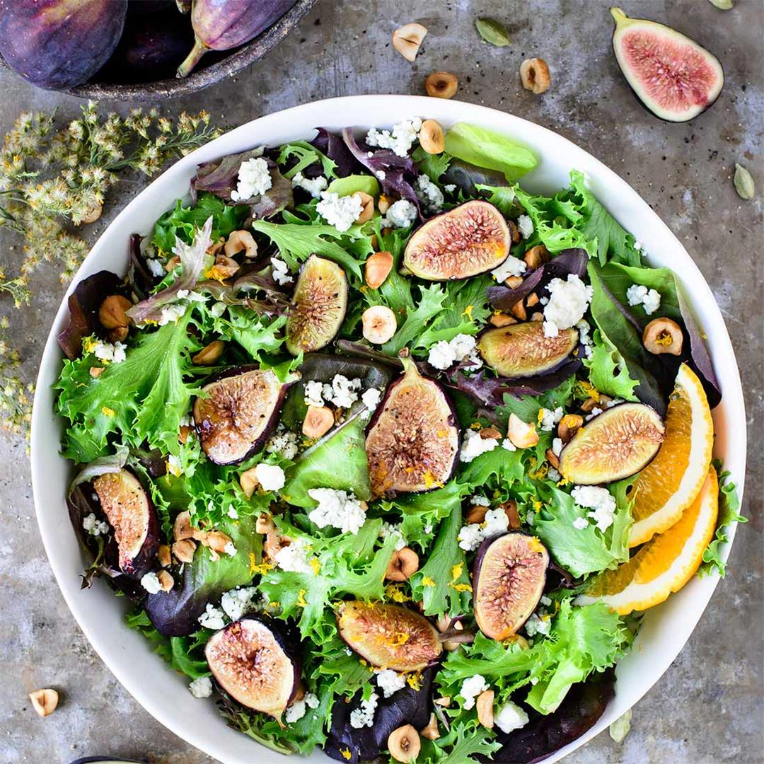 Fig & Hazelnut Salad with Honey Cardamom Vinaigrette