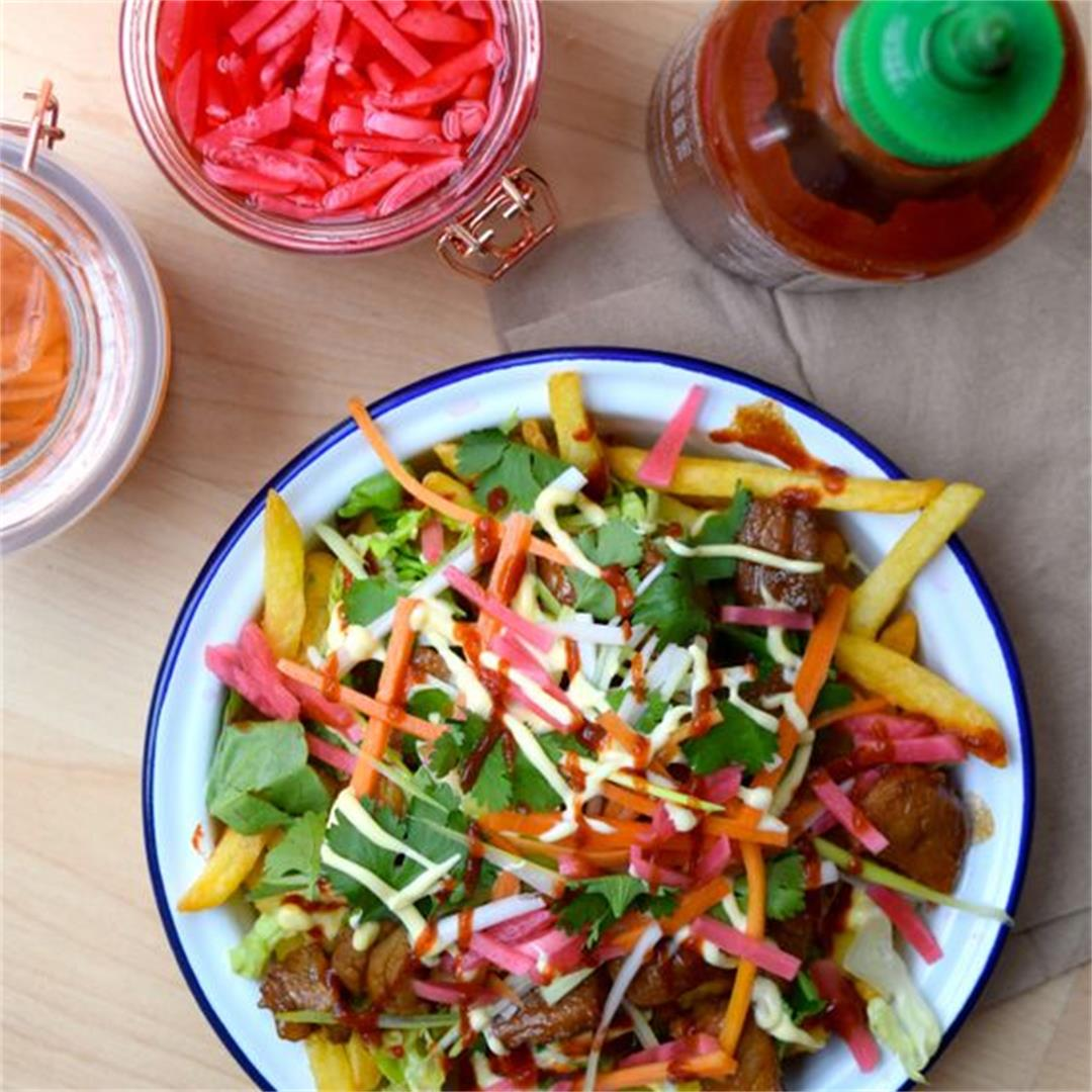 Vietnamese-style Banh Mi Street Fries with Homemade Pickles