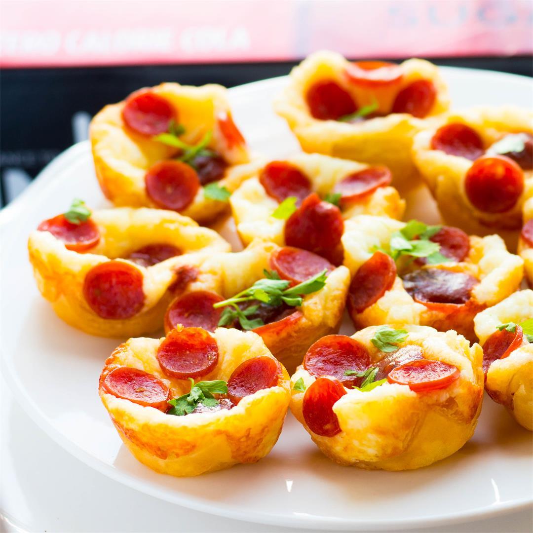 Puff Pastry Cheesy Mini Pepperoni Pizza Bites