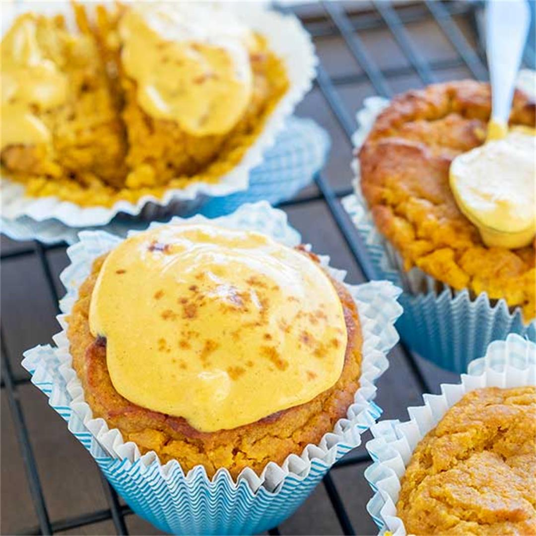 Keto Pumpkin Cream Cheese Swirl Muffin (Gluten-Free, Grain-Free