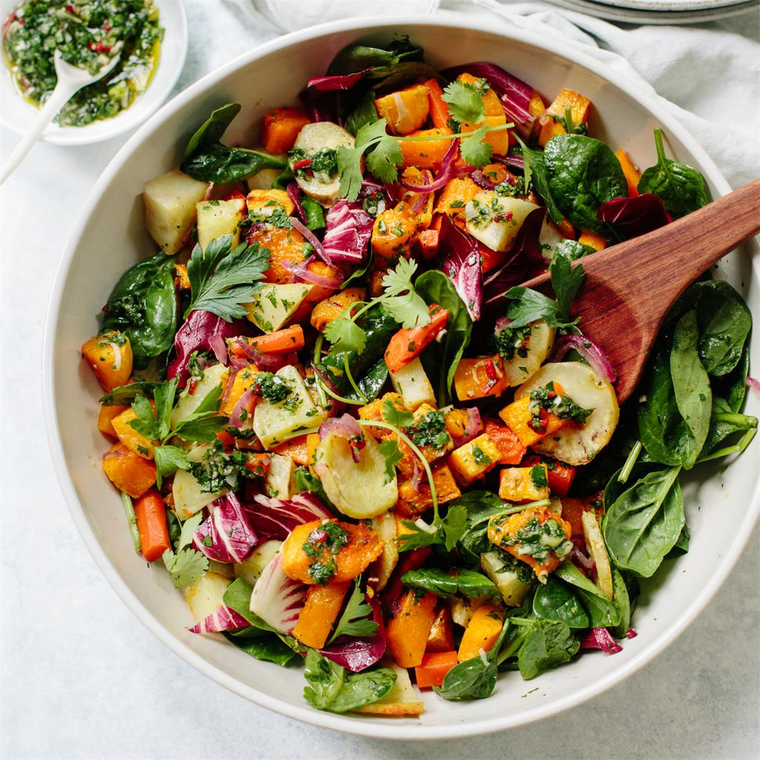 Harvest Root Vegetable Salad with Chimichurri